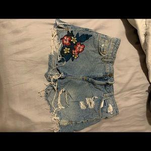 Zara embroidered high waisted blue jean shorts